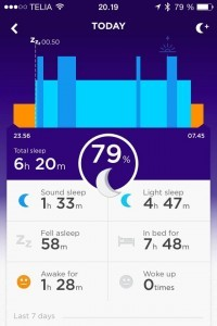 Jawbone Up appen viser dit søvnmønster og giver indblik i din søvnkvalitet